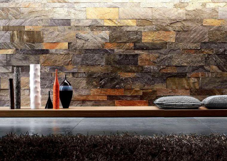 Interior Stone Veneer Small Garden Waterfall Dark Brown Stone Wall Black Cushions