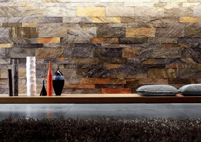 Interior Stone Veneer Small Garden Waterfall Dark Brown Stone Wall Black Cushions